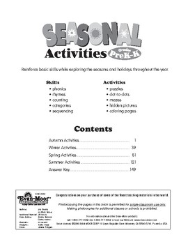 Seasonal Activities, Grades Pre-K-K