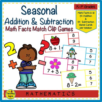 Additon & Subtraction Facts 0-10 Seasonal Math Clip Game