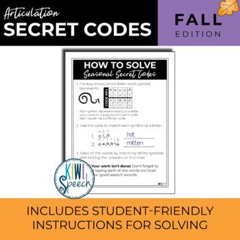 Seasonal Articulation Secret Codes (NO-PREP) - FALL / AUTUMN Edition