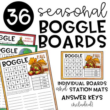 Seasonal BOGGLE Boards