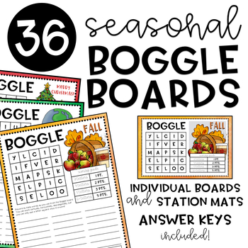 Seasonal BOGGLE Boards