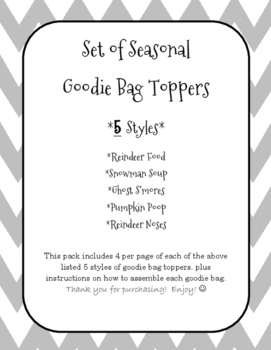 Seasonal Bag Toppers - Set of 5 Different Styles