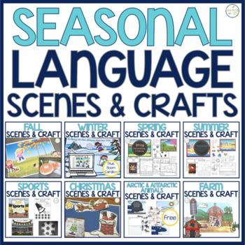Barrier Activity & Craftivity Speech & Language Development:  SEASONAL BUNDLE