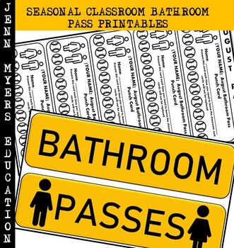 Seasonal Bathroom Pass Printable [Editable Version] / Classroom Management Tools