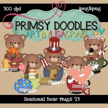 Seasonal Bear Mugs 300 dpi clipart