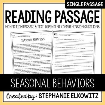 Seasonal Behaviors Reading Passage