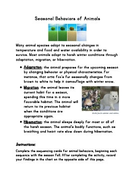 Seasonal Behaviors and Adaptations Handout (for with sequencing cards)
