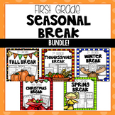 Seasonal Break Homework Packet BUNDLE - First Grade