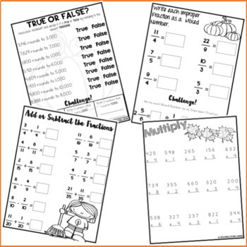Seasonal Break Homework Packet BUNDLE - Fourth and Fifth Grade