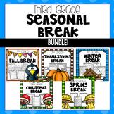 Seasonal Break Homework Packet BUNDLE - Third Grade
