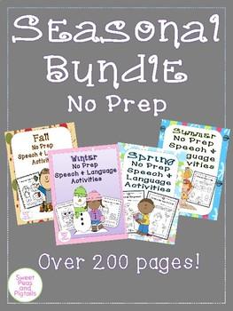 Seasonal Bundle of NO PREP Speech & Language Activities