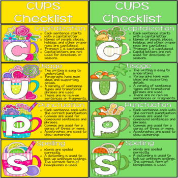 Seasonal CUPS Writer's Checklist for Self Editing and Peer Editing