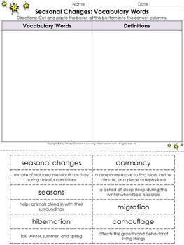 Seasonal Changes: Vocabulary Words Cut and Paste Activity - Weather