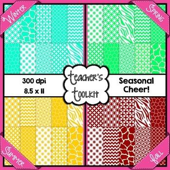 Seasonal Cheer Digital Background Papers Bundle {8.5 x 11} Clip Art CU OK