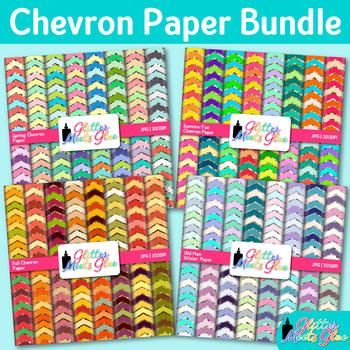 Seasonal Chevron Paper Bundle | Scrapbook Backgrounds for Winter, Spring, Fall