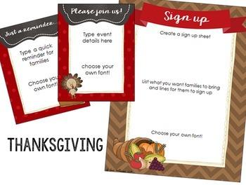 Seasonal Classroom Party Printables - Editable