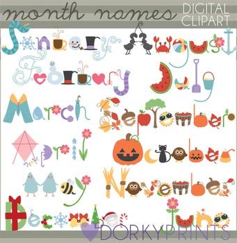 Seasonal Clip Art - Month Name Titles