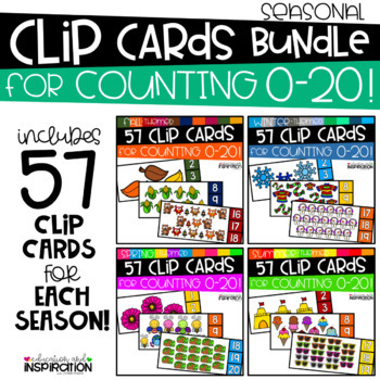 Seasonal Clip Cards Counting 0-20 GROWING BUNDLE by Education and Inspiration