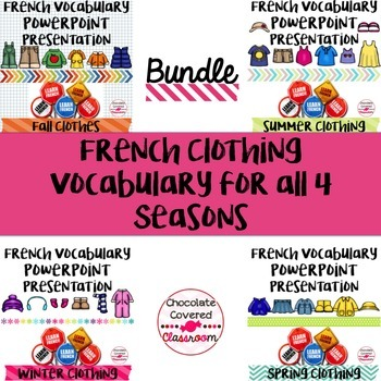 Seasonal Clothing Vocabulary PowerPoint Presentations - The Bundle
