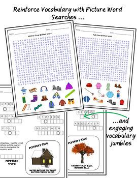 Seasonal Clothing Vocabulary Puzzle Pack Bundle ESL EFL