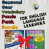 ESL Beginners Games Seasonal Clothing Vocabulary Puzzle Pack Bundle EFL