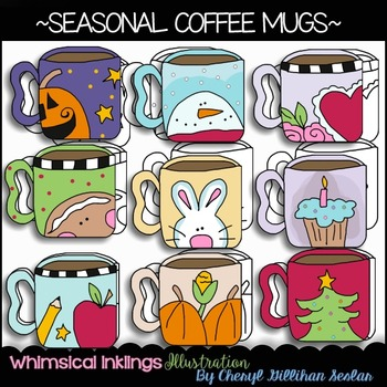 Seasonal Coffee Mugs Clipart Collection