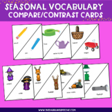 Seasonal Compare and Contrast Vocabulary Task Cards