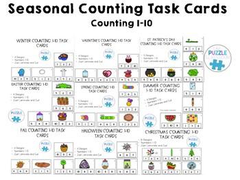 Seasonal Counting Task Cards Growing Bundle