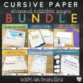 Seasonal Cursive Paper Bundle : Editable