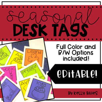 Seasonal Desk Tags (Ready to Print & Editable)
