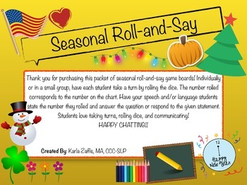 Seasonal Roll-and-Say Dice Game