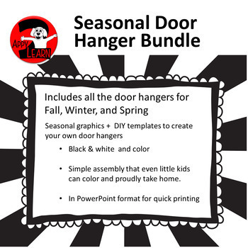 Seasonal Door Hangers: Fall, Winter, and Spring - Editable Text!