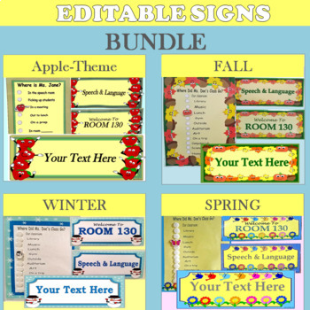 Editable Door Signs Seasonal Set