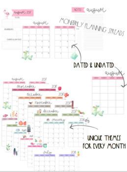Seasonal, EDITABLE Watercolor Teacher Planner
