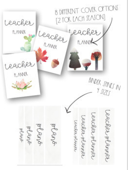 Seasonal, EDITABLE Watercolor Teacher Planner
