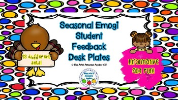 Seasonal Emogi Student Feedback Desk Plates