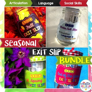 Seasonal Bundle of 400 Exit Slips for Articulation, Langua