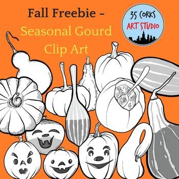 Seasonal Fall Gourds Clip Art - Freebie!