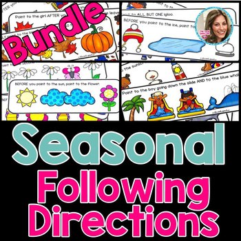 Seasonal Following Directions Bundle | Summer Speech and Language Therapy