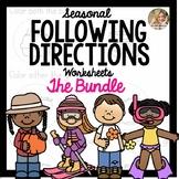 Seasonal Following Directions Worksheet Bundle | Fall Speech and Language