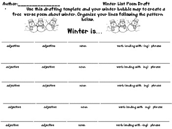 Seasonal Free Verse Pattern Poem: Parts of Speech