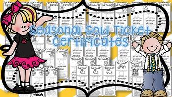 Seasonal Gold Ticket Behavior Management Certificates