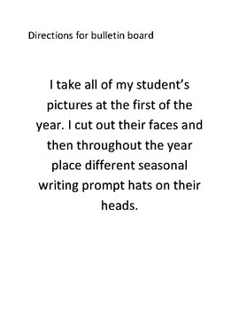 Seasonal Hat Writing Prompts for Bulletin Board