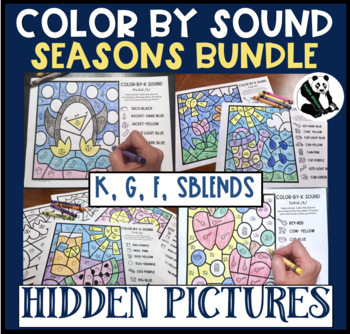 Seasonal BUNDLE Hidden Pics-Color by Sound for K, G, F, & SBLENDS
