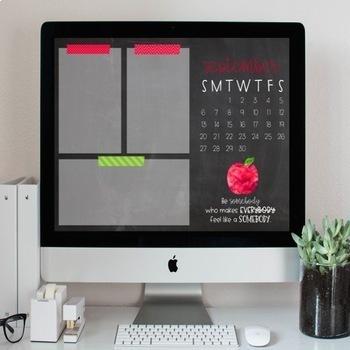 Seasonal/Holiday Desktop Organization Wallpaper + Calendar