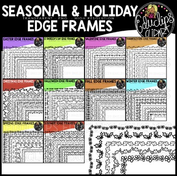 Seasonal & Holiday Edge Frames Clip Art Bundle {Educlips Clipart}