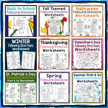 Seasonal/Holiday Following Directions Worksheets BUNDLE