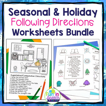 Seasonal and Holiday Following Directions Worksheets BUNDLE