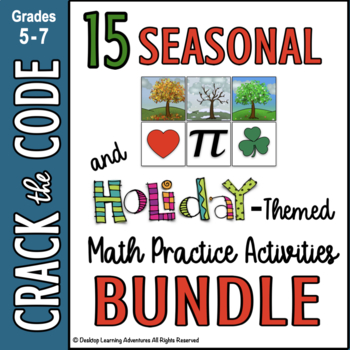 Seasonal & Holiday Math Practice - Crack the Code Bundle