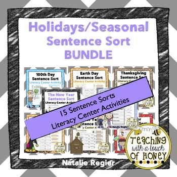 Seasonal/Holiday Sentence Sorts Bundle: Literacy Center Ac